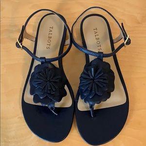 🆕 Talbots Keri Flower Sandals in Navy Blue